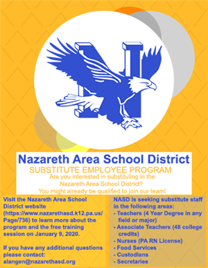 Are you interested in substituting in the Nazareth Area School District?